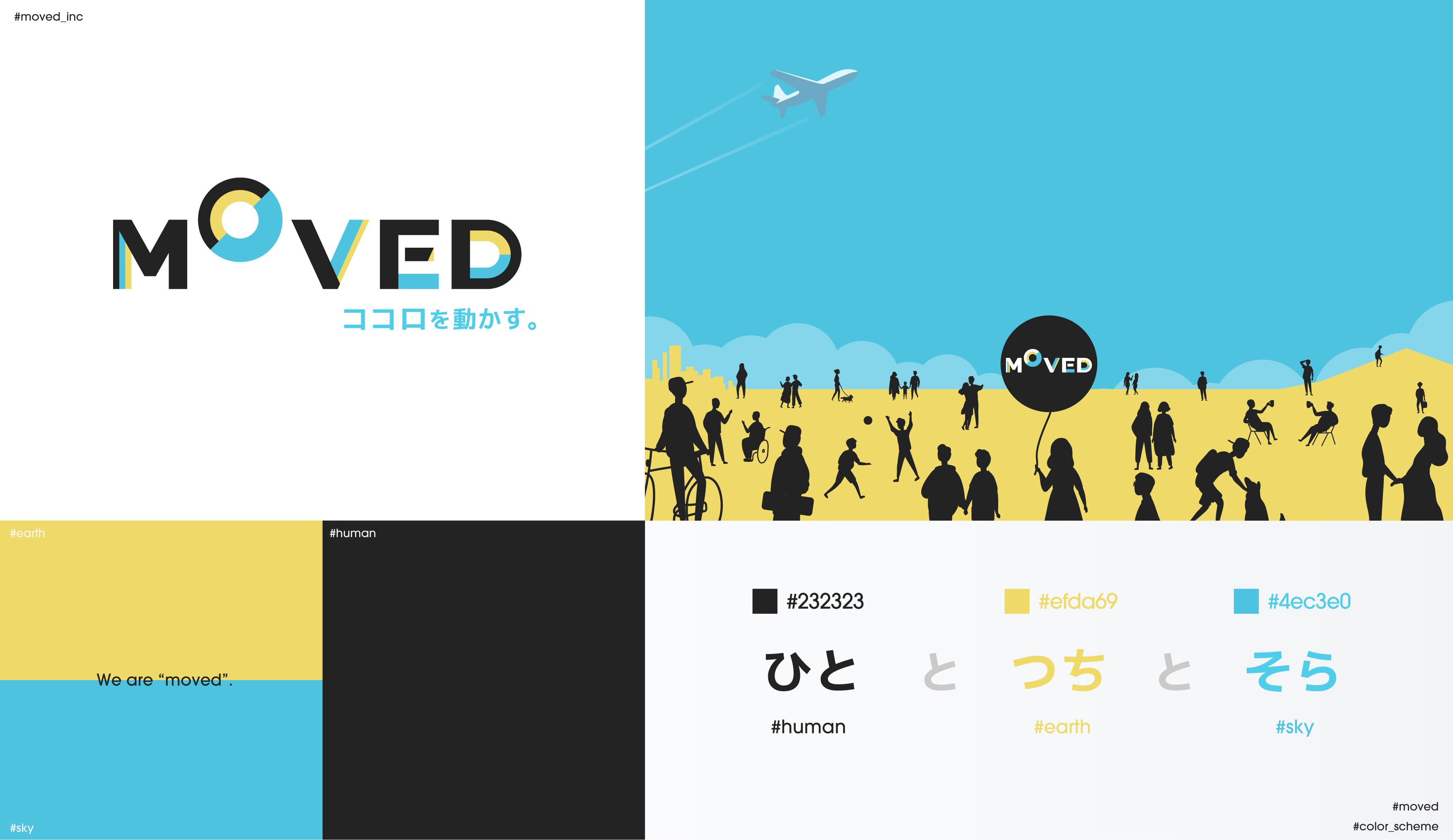 【デザイン】MOVEDのロゴマーク誕生秘話。黒、青、黄色に込められた想い